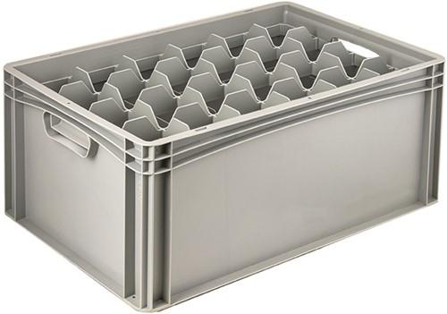 Basicline glazenbak 600x400x270 mm 24 vakken