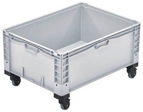 Basicline Plus stapelbak 800x600x460 mm met versterkte bodem en wielen