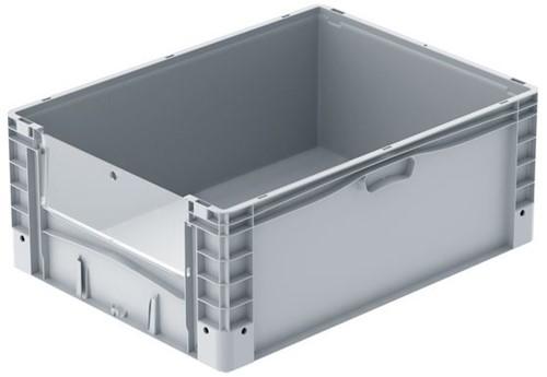 Basicline Plus uitpakbak 800x600x320 mm met uitpakklep en versterkte bodem